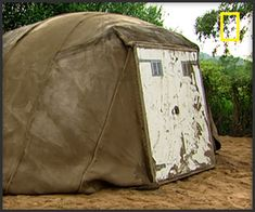 Inflatable Concrete Tent. Concrete Soaked canvas.  They need to make these out of HEMPCRETE and then make tiny homes. AWESOME.