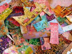 Diane Salter's big pile of painted papers My Art Journal: A New Tutorial--An Altered Box