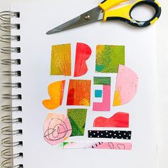 Craft idea. Collage using colorful bits from old art and catalogs by @samantharussodesign