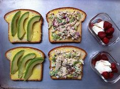 Tuna and bacon join garlic scapes, celery, radish, and basil in a salad, served on thin slices of brioche with homemade aioli and avocado slices. On the side, sugared strawberries are balanced with crème fraîche.