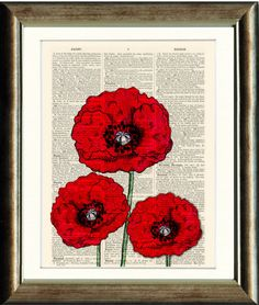 Poppies Upcycled print on a vintage book page by PixelArtPrints, $10.00