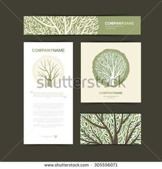 Business Cards Template With Stylized Tree Beautiful Logo Vector Ilration Card