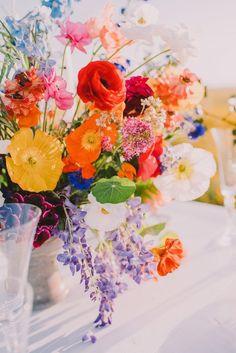 . Protea Centerpiece, Orchid Centerpieces, Summer Flower Arrangements, Floral Arrangements, Bachelor Button Flowers, Colorful Wedding Centerpieces, Chic Vintage Brides, Vintage Weddings, Wedding Vintage