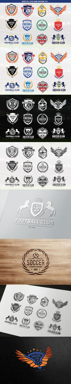 Soccer Logo Football logo collection. Sport Icons. $25.00