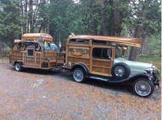 Check out this 1929 Ford Model Woody Teardrop Trailer!- Check out this 1929 Ford Model Woody Teardrop Trailer! Check out this 1929 Ford Model Woody Teardrop Trailer! Vintage Rv, Vintage Caravans, Vintage Travel Trailers, Vintage Trucks, Vintage Campers, Retro Campers, Rv Campers, Mini Camper, Truck Camper