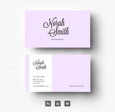 Purple business card template by Emily's ART Boutique  on Creative Market