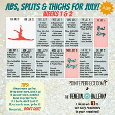 Weeks 1 & 2 of the Abs, Splits & Thighs for July Dancer& Challenge! Cheerleading Workouts, Cheer Workouts, Gymnastics Workout, Gymnastics Stretches, Flexibility Challenge, Flexibility Dance, Flexibility Workout, 6 Pack Abs Workout, Workout Challenge