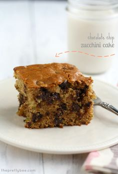A sweet snack or dessert - chocolate chip zucchini cake. #vegan
