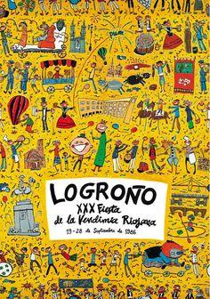 Cartel Fiestas San Mateo Logroño 1986 Vintage Posters, Creative Art, Layout, Graphic Design, Marketing, Celebrities, Illustration, Travel, Inspiration