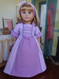 Lavender-Gown-Outfit-Fits-American-Girl-Felicity-Any-18-034-Doll-Doll-Not-Included