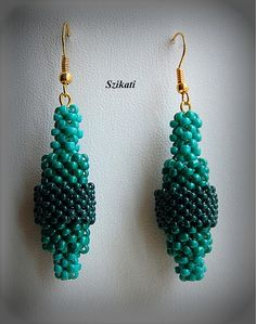 Beaded green seed bead earrings Right Angle Weave OOAK by Szikati, $30.00