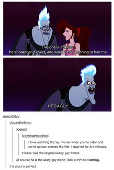 Hades is Meg's (evil) sassy gay friend