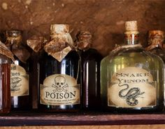 Free Printable Halloween Bottle, Potion Labels