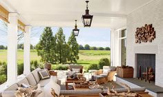 Bridgehampton Residence | Interior design by Steven Gambrel | Photography by Eric Piasecki | Sussex Small Hanging Lantern by E.F. Chapman, CHO5031