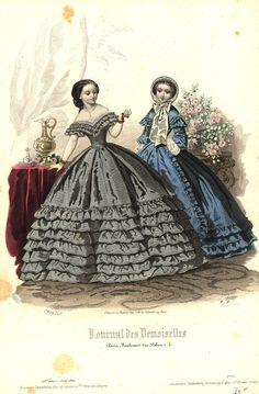 Vintage Hand Coloured Print - Journal des Demoiselles - Evening dress, 1860