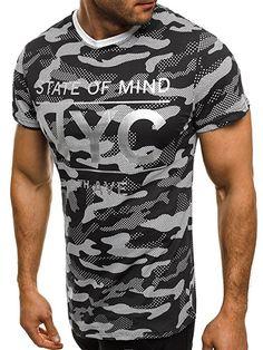 OZONEE Herren T-Shirt mit Motiv Kurzarm Rundhals Figurbetont J.STYLE SS124 SCHWARZ L