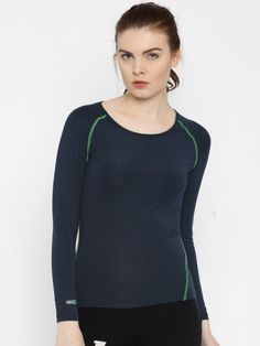 Buy Proline Active Navy Blue Solid Round Neck T Shirt - Tshirts for Women | Myntra
