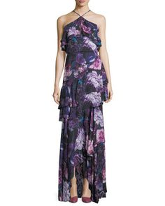 541a3c4cc8f Parker Black Jodie Halter Evening Gown in Floral Print