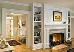 9 Serene Cool Tips: Wainscoting Grey Panelling wainscoting decor master bedrooms.Wainscoting Fireplace Entryway wainscoting ceiling board and batten.Wainscoting Fireplace Home. Grey Fireplace, Fireplace Bookshelves, Fireplace Built Ins, Fireplace Remodel, Fireplace Design, Fireplace Mantels, Simple Fireplace, Fireplace Ideas, Fireplace Between Windows