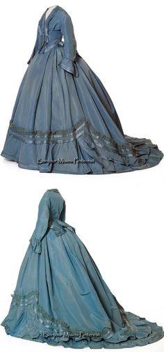 Blue silk and wool taffeta, satin, and crepe. Civil War Fashion, 1800s Fashion, 19th Century Fashion, Victorian Fashion, Vintage Fashion, Victorian Era, Gothic Fashion, Old Dresses, Pretty Dresses