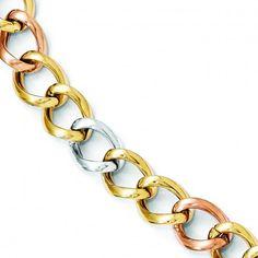 Leslie's 14k Tri-color Polished Link Bracelet - Bracelets.
