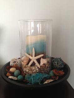 Decor for a beach themed bedroom  Hurricane Glass Flameless Candle Summery Potpourri  Starfish Shells