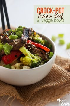 Crock-Pot Asian Beef {with Paleo Rice Bowls}