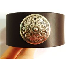 Brown Leather Cuff with Concho by ChristyKeysCreations on Etsy, $18.00