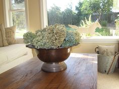 Silver Punch Bowl with hydrangeas - antiquechase.blogspot.com
