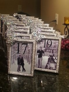 Swarovski crystal rhinestone table number frames.  www.milwaukeeweddingcenter.com www.facebook.com/milwaukeeweddingcenter