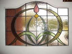 Circa Art Nouveau hand made stained glass Window. Antique Stained Glass Windows, Stained Glass Light, Stained Glass Door, Stained Glass Flowers, Stained Glass Designs, Stained Glass Projects, Stained Glass Patterns, Leaded Glass, Fused Glass