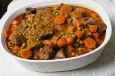Lebanese Bazella. This dish is a blend of carrots, peas and meat in a tomato-based broth that is served with Middle Eastern-style rice. Arabs are used to having family over-its a family based culture-so its meant to be shared.