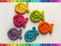 PATTERN-Crochet Fish Applique-Detailed Photos. seahorses, lady bugs, and more