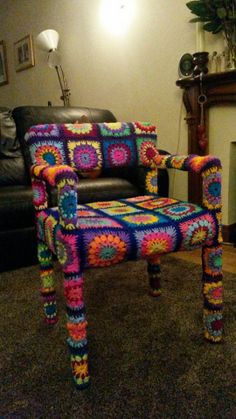 Granny Square Crochet Yarn Bombed Chair by stylewire Crochet