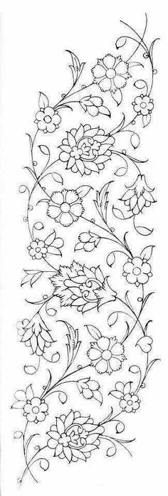 Flower Embroidery Pattern Variety of flower designs … Ribbon Embroidery, Embroidery Stitches, Embroidery Patterns, Islamic Art Pattern, Pattern Art, Stencil Patterns, Turkish Art, Turkish Design, Satin Stitch