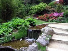large rocks and waterfall - this would solve the runoff problem along the path around the house slope and look marvelous at the same time... need Ahmed to put a pond at the bottom.