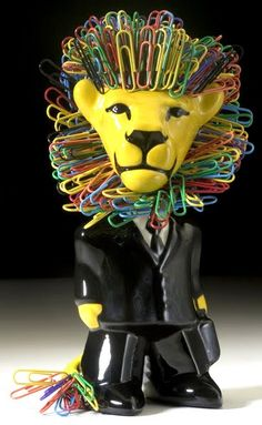 Lion magnetic paper clip holder. A great and quirky addition to your workspace!