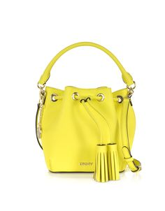 DKNY Yellow Bryant Park Saffiano Leather Mini Bucket Bag at FORZIERI