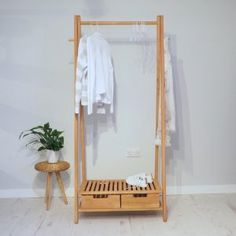 Are you interested in our wooden storage rack? With our wood clothes rail hanging rack you need look Wood Clothing Rack, Wooden Clothes Rack, Diy Clothes Hangers, Clothes Rail, Bedroom Storage, Bedroom Decor, Bedroom Ideas, Garment Racks, Hanging Racks