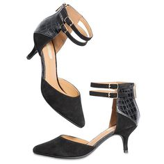 "Genuine suede and faux leather black heels with a small 2 1/2"" H kitten heel. Back zipper for easy-on, easy-off. Half sizes order up.While supplies last. #avon #shoes #mark"