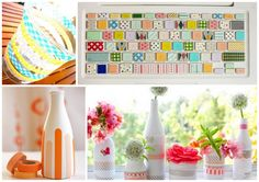 No tutorial here -- but some cute projects made with wonderful washi tape! Washi Tape Storage, Washi Tape Crafts, Tapas, Cute Crafts, Diy Crafts, Crafty Craft, Crafting, Masking Tape, Craft Projects
