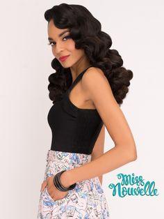 Miss Nouvelle - Hubba Hubba Top, Black - vintage inspired, pinup, black, smocking, retro, 1950s, rockabilly