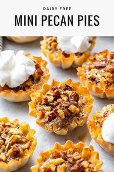 These mini pecan pies are an easy, healthy alternative to a the traditional Thanksgiving day treat since they're made with less sugar and no dairy. Bite Size Desserts, Healthy Desserts, Dessert Recipes, Easter Recipes, Family Recipes, Christmas Recipes, Pie Recipes, Delicious Recipes, Christmas Ideas
