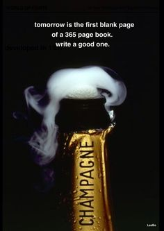 Happy New Year--tomorrow is the first page of a 365 page book..  Write a good one