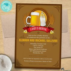 A Baby is Brewing Baby Shower, Baby Sprinkle Invitation | 2-sided, 5x7 | Editable Digital Printable Template | Edit Online & Print Yourself Personalized Invitations, Digital Invitations, Baby Sprinkle Invitations, Sip And See, Edit Online, Couples Baby Showers, We Can Do It, Shower Baby
