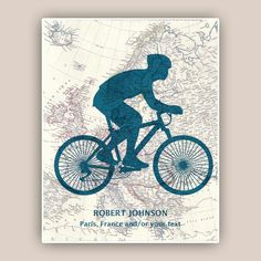 Bike art, PERSONALIZED Cyclist gift, bike print, bike map art, biking lovers,  bicycle wall art, Europe, Australia, America maps, 11x14 by DigiMarthe on Etsy