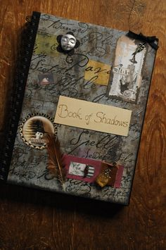 Book of Shadows, journal sketchbook for pagans, witches, wiccans or interesting people, decorated embellished with mixed media & pyrography