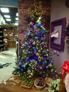 Purple and blue Christmas tree at One Posh Place in Grapevine TX myposhplace.com