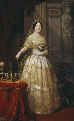 Oil Painting 'Madrazo Y Kuntz Federico De Isabel II Reina De Espana 12 x 20 inch / 30 x 50 cm , on High Definition HD canvas prints is for Gifts And Bath Room, Dining Room And Nursery Decoration ** Continue to the product at the image link. Art Espagnole, Queen Isabella, Lady, Isabel Ii, Glamour, Victorian Fashion, Evening Gowns, Beautiful Dresses, Ideias Fashion