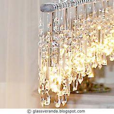 Glassveranda: Prosjekt Moderne selvkomponert krystall-lysekrone, fire lamper blir til én, før - etter bilder.